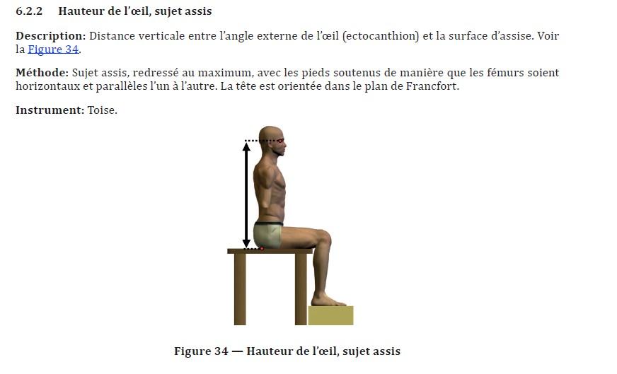 Exemple d'une mesure de base prise pour un sujet en position assise