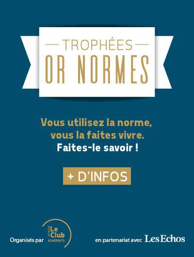 Cartouche trophées Or Normes 2019 en partenariat avec Les Echos